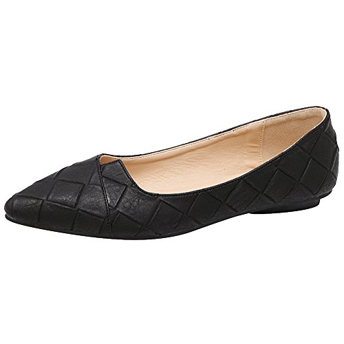Black Plaid Flat Shoe (Jamron Women High End Custom Western Style Plaid PU Leather Pointed Toe Ballerinas Classy Elegant Flat Dress Pumps Black SN02711 US7.5)
