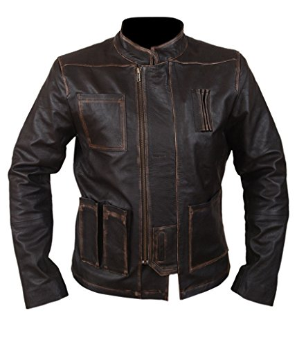 F&H Men's Han Solo Star Wars The Force Awakens Genuine Leather Jacket 4XL Brown