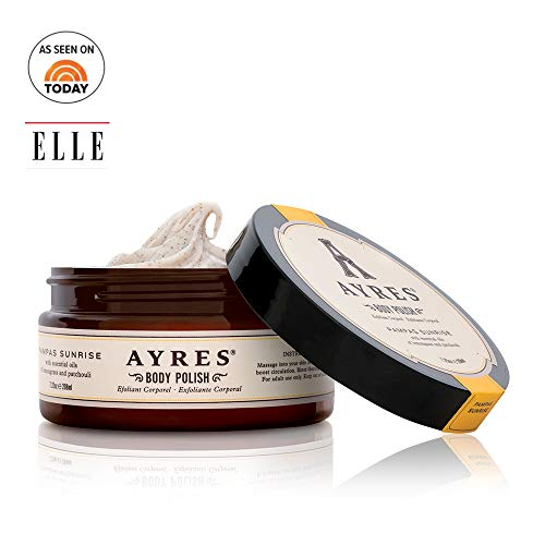 AYRES Pampas Sunrise Natural Apricot Seed Powder Body Polish | Body Scrub | Exfoliant with jojoba oil & aloe vera 7.25 oz. (208ml) | Infused with pure essential oils | Made in the USA | Vegan