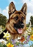 "German Shepherd Dog – Tamara Burnett Summer Flowers Outdoor Garden Flag 12"" x 17"" For Sale"
