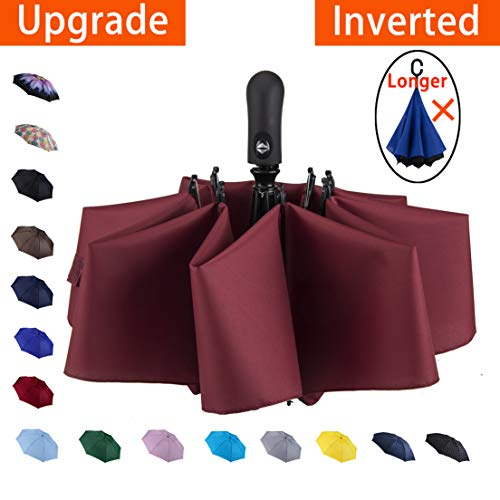 NOOFORMER Automatic Inverted Reverse Folding Compact Light Windproof Travel Car Umbrella