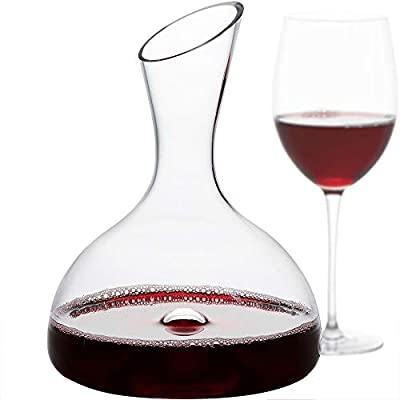 GoodGlassware Wine Decanter - Personal Red Wine Carafe with Wide Base and Aerating Punt - Crystal Clear Clarity, 100% Lead Free Glass (44 oz Capacity)