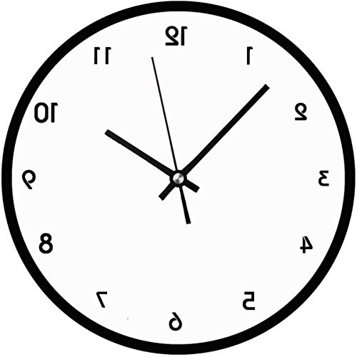 47BuyZHJX Backwards in The Mirror Image - Unique Decorative 10 in Round Wall - Backwards Clock