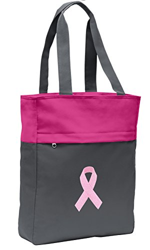 [Pink Ribbon Tote Bag Womens Ladies CarryAll Totes] (Ribbon Tote)
