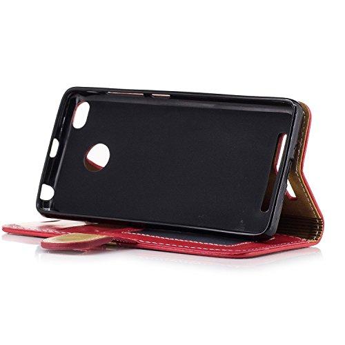 homestaydd Redmi 3Fall, echte Qualität eleganten Stil Rückseite Magnetic Schnalle Flip Brieftasche Leder fall für Xiaomi Redmi Mi 3 schwarz Schwarz rot