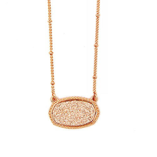 YUJIAXU Rose Gold Framed Oval Champagne Faux Druzy Statement Choker Necklace New Design for Wedding