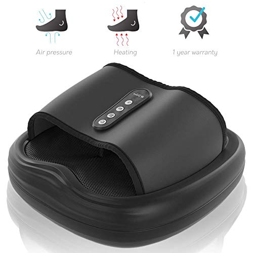 (Shiatsu Foot Massager Machine - 3-1 Acupuncture Massage Device With Heat, Air Compression Deep Kneading Feet Circulation Muscle Relief Plantar Fasciitis Neuropathy Chronic Nerve Pain - 1 Year Warranty)