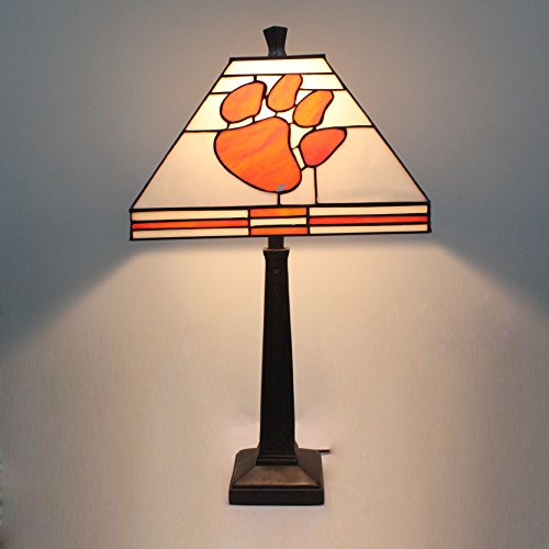Glass Tigers Stained Desk - 12-inch NCAA Clemson Tigers Stained Stained Glass Square Table Lamp
