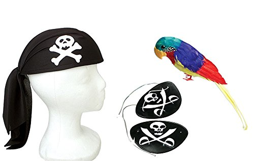 Pirate Costume Accessory Bundle Parrot Pirate Scarf Patch 14 (Pirate Parrot Costume)