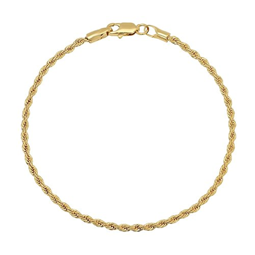 MCS Jewelry 14 Karat Solid Diamond Cut Rope Chain Bracelet Yellow Gold (2.5 mm) (7)