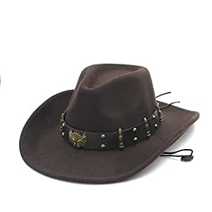 TX GIRL Western Cowboy Hat Women Men Western Cowboy Hat with Roll up Brim Dad Sombrero Caps Novelty Party Costumes (Color : Coffee, Size : 56-58CM)