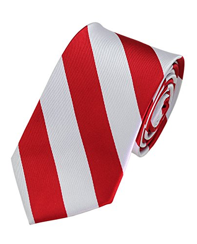 College Microfiber Striped Banded Bow Tie Red//Black