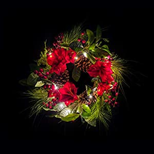 Lighted Amaryllis Christmas Wreath 18 Inches Holiday Winter Greenery Pinecones and Red Berries 2