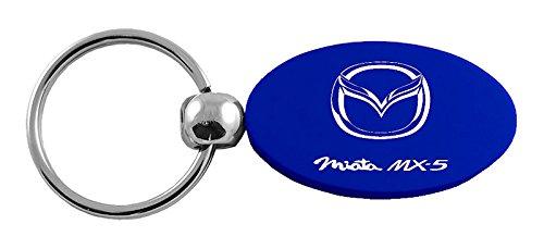 INC Mazda MX-5 Miata Blue Aluminum Oval Key Chain Au-Tomotive Gold