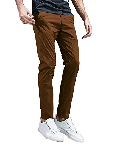 (Match Mens Slim-Tapered Flat-Front Casual Pants (32, 8105 Light Brown))
