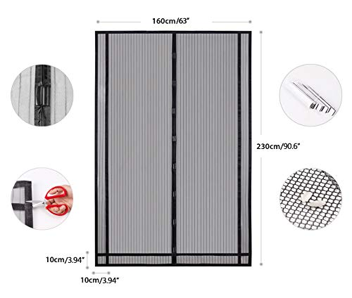 Sekey Magnetic Screen Door with Heavy Duty Polyester Mesh Curtain, Fits Door Size Up To 90