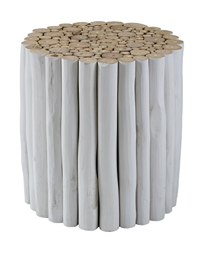 East At Main Stanley White Round Teakwood Side End Accent Table Foot Stool, (15x15x16)