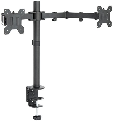 "VIVO Dual LCD Monitor Desk Mount Stand Heavy Duty Fully Adjustable fits 2 / Two Screens up to 27"" (STAND-V002)"