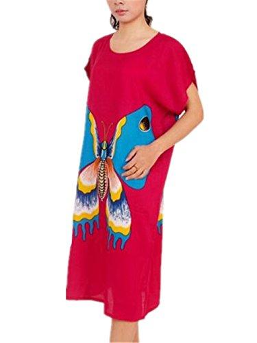 Rosy1 Vestito Femminili Vestito Stile da Pigiama da Notte Sleepwear Etnico BESTHOO da Stampate Camicia Vintage Donna Abito Notte da Notte AHqdwv