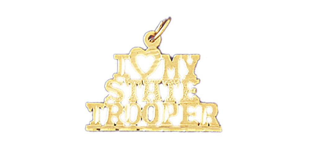 22mm x 19mm 14k Yellow Gold I love my state trooper Pendant