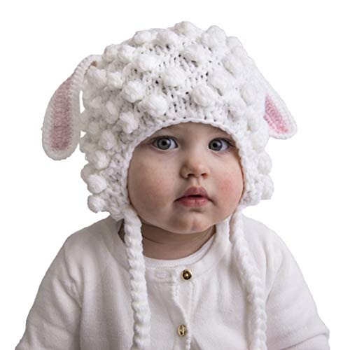 Huggalugs Baby and Toddler Girls Lamb Beanie Hat M