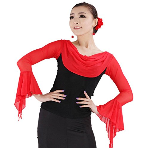 OOFAY Long trumpet sleeves standard modern Latin dance shirt , red , xl