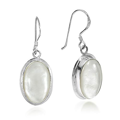 Simply Elegant Oval Mother of Pearl Inlay on .925 Sterling Silver Dangle - Pearl Of White Mother Oval