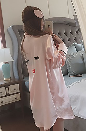 fashion Camicie Sciolto Eleganti Canotte Stampa Donna HX Pigiami Primaverili Glamorous Semplice Comode Camicia Pink Lunghe 3 Notte Estivi Pigiama Pantaloncini Pezzi Da Maniche dXSqpF