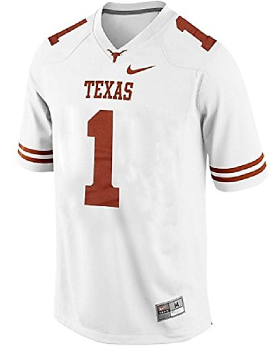 Texas Longhorns Youth Game #1 White Football Jersey By Nike Team Sports (Texas Youth Replica Football Jersey)