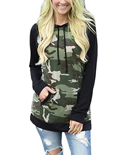 THANTH Women's Camouflage Print Long Sleeve Pullover Hooded Sweatshirt with Pockets Black M Army Wife Hooded Sweatshirt
