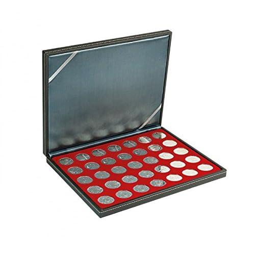 Lindner 2364-2711E Étui à monnaie NERA M avec insert rouge foncé avec compartiments de 35 litres. Convient pour des pièces de monnaie avec Ø de 32,5 mm, p.ex. 10 et 20 EURO pièces en