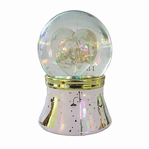 NON ROCK Heart-Shaped Water Globe Crystal Ball Musical Box Luxury Color Change Luminous Rotating