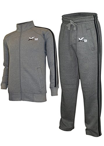 X-2 Mens Athletic Full Zip Fleece Tracksuit Jogging Sweatsuit Activewear
