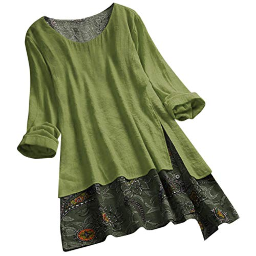 GHrcvdhw Women Plus Size Blouse Tunic Shirt Vintage Patchwork Irregular Hem Print Shirt Dress Shirt Top Army Green