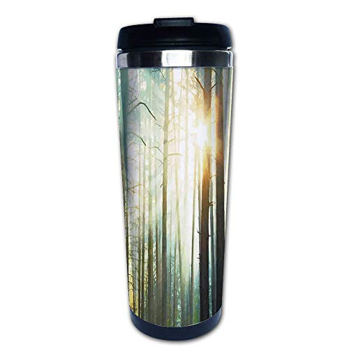 Stainless Steel Insulated Coffee Travel Mug,Woods Enchanted Wilderness with Sunbeams,Spill Proof Flip Lid Insulated Coffee cup Keeps Hot or Cold 13.6oz(400 ml) Customizable printing