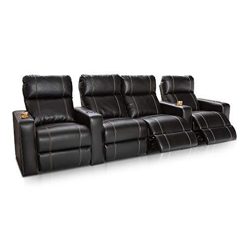 Seatcraft Dynasty Home Theater Seating Bonded Leather Power Recline (Row of 4 with Middle Loveseat, Black)