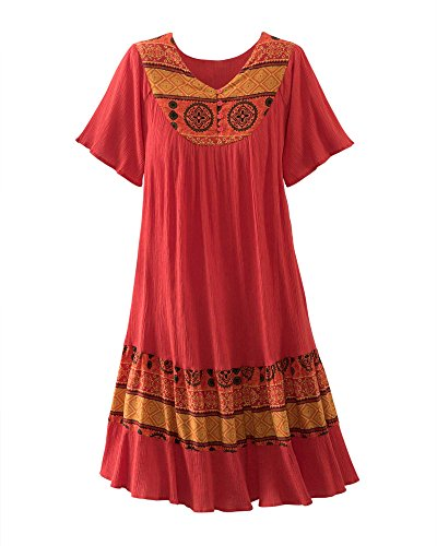 National Santa Fe Border Print Dress, Paprika,