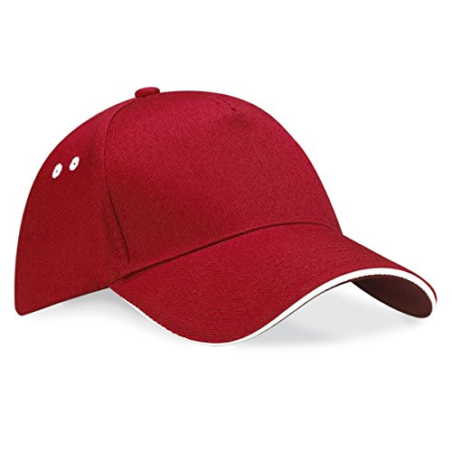 Beechfield Unisex Ultimate 5 panel contrast cap with sandwich peak Clasic Red / White