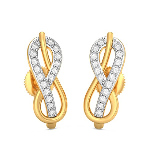 18 K Or jaune 0.18 CT TW White-diamond (IJ | SI) Boucles d'oreille à tige