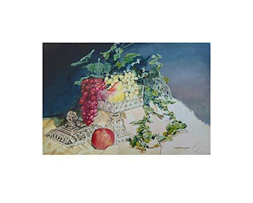 Grape Bowl Wall - Original Watercolor Painting-Fruit in Glass Bowl