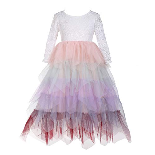 Flower Girls Tutu Lace Cake Dress Skirts Princess Birthday Party Dresses (Candy Color, 1T)