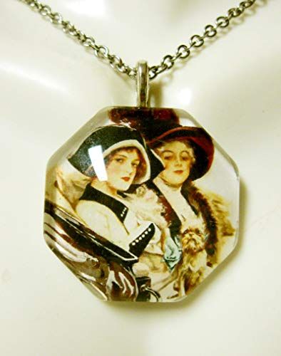 Two ladies riding with their Brussels Griffon glass pendant with chain - DGP25-100