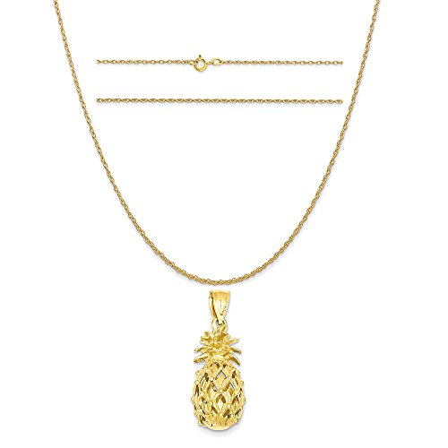 K&C 14k Yellow Gold 3-D Cut-Out Pineapple Pendant on a 14K Yellow Gold Carded Rope Chain Necklace, 18