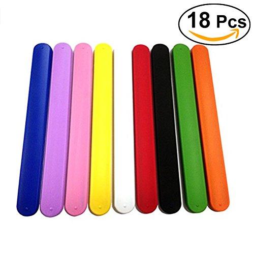 NUOLUX 18 Pcs Rainbow Silicone Slap Soft Bracelets for Kids Boys Girls Party Favors
