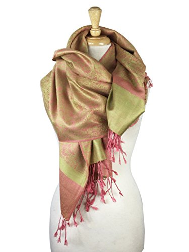 Paskmlna Paisley Jacquard Pashmina Shawl Wrap Scarf Stole - Green Pink