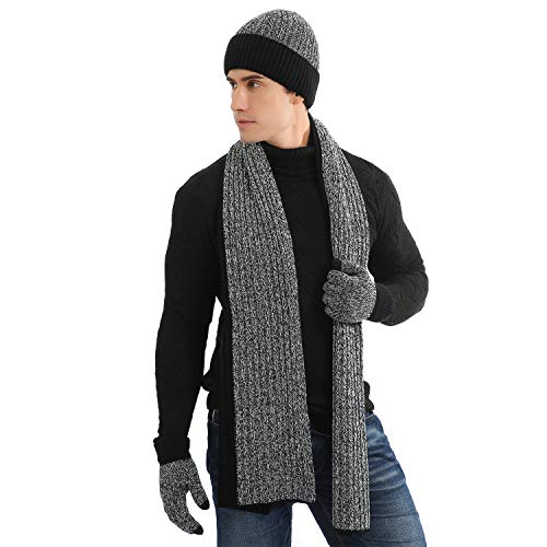 DTBG Winter Beanie Hat Scarf Gloves Set for Men Thick Knit Beanie Scarf with Touchscreen Gloves 3 Pi - http://coolthings.us