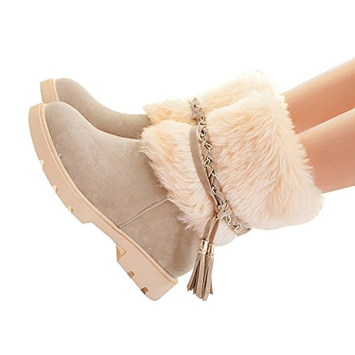 Susanny Women's Winter Fashion Warm Short Booties Casual Outdoor Suede Flat Heel Waterproof Faux Fur Beige Snow Boots 7.5 B (M) US