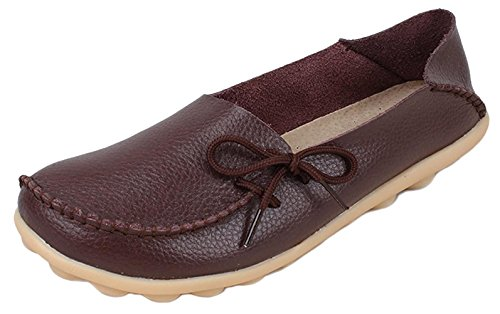 DADAWEN Women's Loafer Flats Sandals Slip-Ons Pump Boat Shoes Coffee QkseWOH7lw