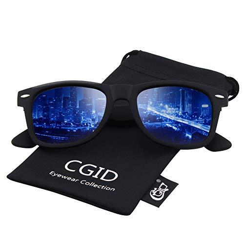 CGID Classic Eyewear 80's Retro Large Horn Rimmed Style UV400 Polarized Sunglasses,Matte Black ()