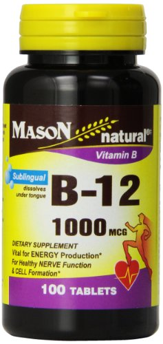 Mason Vitamins B-12 1000Mcg Sublingual Cyanocobalamin Tablets, 100-Count Bottles (Pack of 3)